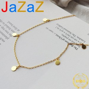 Jazaz Genuine 925 Sterling Silver Sweet Round Dangle Short Clavicle Necklace For Women Minimalism Jewelry Accessories Chains