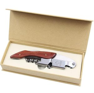 Hippocampal Knife Bottle Opener Wood Stainless Steel Can Red Wine Openers Multi Function Screw Corkscrew Kitchen Small Tools SN2177