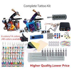 Tattoo Kit Machine Pun 6/14/40 Цвета Чернила Одноразовые поставки Мини-источника питания Набор для начинающих Татуировки Комплекты для тела Аксессуары для тела