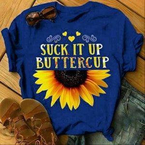 Femmes T-shirt Suck Up Buttercup Sunflower Lettre imprimée Summer Summer Sleeve Sleeve Tops Tee shirts Toile féminine