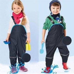 Boy Waterproof Warm Autumn Spring Girl Fleece Lining Trousers Outdoor Windproof Pants Loose Fit Children Overalls 210417