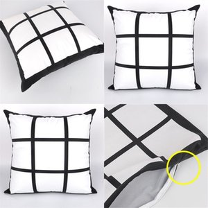 9 panel Blank Sublimation Pillow case black grid woven Polyester heat transfer cushion cover throw sofa pillowcases 40*40cm 570 R2