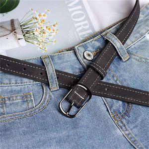 BONJEAN Women Leather Belt Girl Imitation Leather Vintage Ladies Solid Color Waistband Fashion Belt Square Buckle BJ2405