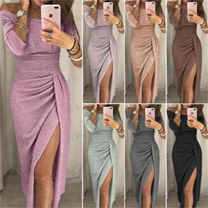 UK Womens Cocktail Party Long Sleeve Bodycon Clubwear Long Split Dress Size Sexy Night Club Fashionable Set auger Round Collar Wind Dresses