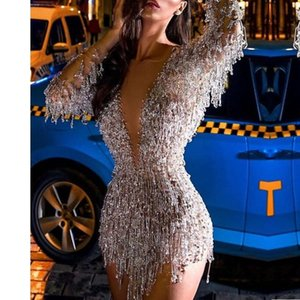 Sexy Deep V Bling Cocktail Dresses 2021 New Style Long Sleeves Short Mini Party Gown Formal Dress For Lady Night Club Wear