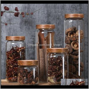 Housekeeping Organization Home Garden Drop Delivery 2021 350650950Ml1250Ml1550Ml Bamboo Lid Glass Airtight Canister Storage Bottles Jars Grai