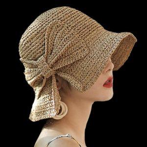 Summer Handmade Woven Bow Sun Hat Floppy Brimmed Women Girl Straw Bucket Cap new WAJ0934