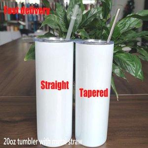 Tasses de sublimation coniques et droites de 20 oz Tumbler 20 oz acier inoxydable vierge grand cylindre