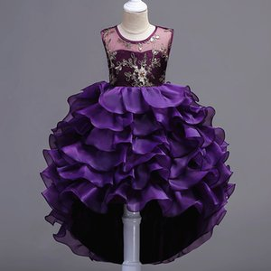 Fashion designer sleeveless clothes childrens layered evening princess dresses kids party clothes baby girls high quality clothing 748 S2