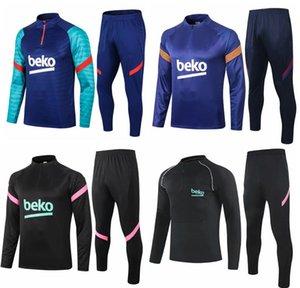 Adultos e Kids Tracksuits Sweater Jaqueta de inverno Jersey Jersey 2021 Messi Ansu Fati Homens Kits Kits Survitement Tracksuit Treinando Camisa de Futebol