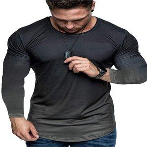 Herren T-shirts Gradient Langarm T-Shirt Mode gewaschen Rundhals T-Stück Retro Lose Mode High Street Casual