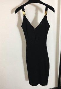 Сексуальные женские платья на взлетно-посадочной полосе V-образным вырезом без рукавов вязание тонкое платье высокое качество женской золотой кнопки длиной миланской вечеринки одежда My1