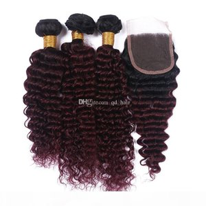 Dark Roots Ombre 1b 99j deep wave Hair Bundles With Lace Closure Human Burgundy 1B 99J Deep Curly Hair With Lace Closure 4x4