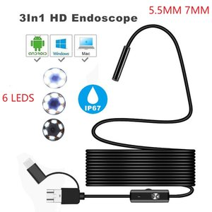 3 in 1 HD Smartphone Endoscope 5.5mm 7mm Flexible Inspection Camera Endoscopica 480P Borescope with USB Micro USB Type-C for smartPhone PC