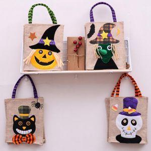 26 * 15cm Bolsa de asas de lino de Halloween Calabaza Bolsas de almacenamiento de caramelo Suministros festivos 4 estilos Halloween Decoración Bolso Cyz3266