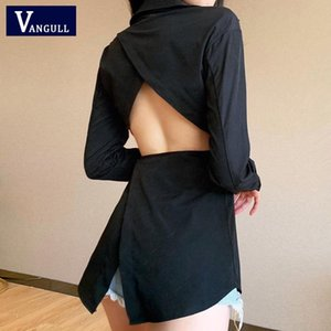 Vangull Blouse Women Long Sleeve Hollow Out Lace Up Shirts Casual Fashion Sexy Turn-down Collar Front Button Solid Autumn Top Women's Blouse