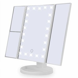 Mirrors Makeup Mirror Beauty Tabletop USB Three-Fold Smart Touch 22 LED Light