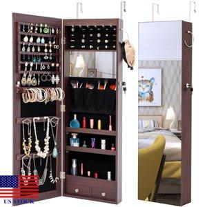 Хранение ювелирных изделий зеркало зеркала коробка с светодиодными фонарями можно повесить на двери или стене H0041 US акция быстрая доставка