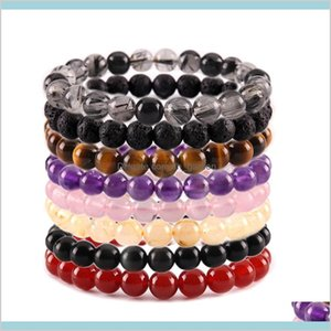 Beaded Strands Drop Delivery 2021 8Mm Natural Stone Beads Bracelet Crystal Amethyst Turquoise Tiger Eye Bracelets For Women Men Fashion Jewel