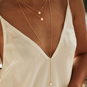 2021 Mode minimalistische Runde Disco Münze Kette Halskette Anhänger Zierliche Pailletten Multi Layer Halsketten Frauen