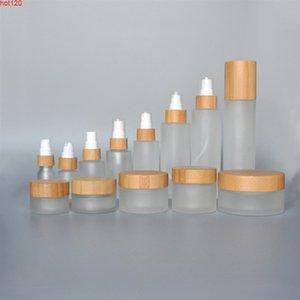 Frosted jar bottle 1 3 oz 1oz 4oz 5oz bamboo bottles with lotion spray cap Lip balm tube sample skin care cream cosmetics creamgoods