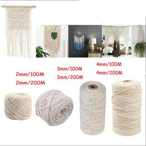 1 2 3 4mm Macrame Rope Twisted String Cotton Cord For Handmade Natural Beige DIY Home Wedding Accessories Gift Yarn