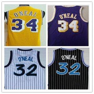 أعلى Hot NCAA Collage 34 # شاكيل س نيل الأرجواني الأصفر شاكيل 32 س نيل كرة السلة مخيط حجم S-XXL الفانيلة