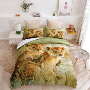 Bedding Sets Animal Duvet Cover Set 2 3pcs Lion Printing Comforter With Pillowcase Green Juego De Cama Queen King