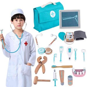 Kids Wooden Doctor Toy Set Simulation Family Doctor Nurse Medical Kit Toy Pretend Play Hospital Medicine Accessorie Children Toy 921