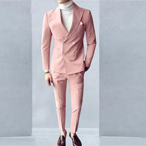 Double Breasted Groom Wedding Tuxedos Mens Suits 2 Pieces Pink Long Sleeve Slim Fit Handsome Man Formal Wear Male Blazer Custom Made