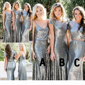 Silver Sequined Bridesmaid Dresses Newest Country Style Two Pieces Mix and Match Bridesmaid Dress Custom Made Wedding Guest Party Gowns