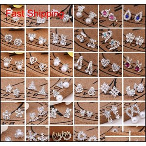 Stud Sell 45 Styles Creative Fashion Snowflake Beer Crystal Rhinestone Ear Studs Pearl Earrings Z7Yqk Xciam