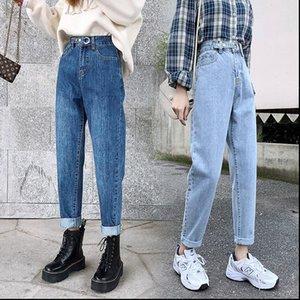 Vintage boyfriend mom high waisted Womens Jeans blue casual pencil trousers korean streetwear denim pants