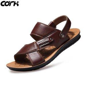 أعلى جودة الفلين الرجال الصنادل الصيف جلد طبيعي الصنادل الرومانية الذكور عارضة الأحذية شاطئ الوجه يتخبط الرجال الأزياء في الهواء الطلق النعال أحذية