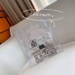 26X27X10cm PVC shopping bags C gift Fashion Storage printed C Beach Casual tranasparent Handbag stationery magazine bag