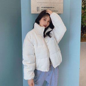 Autumn Korean Loose Corduroy Winter Student Puffy Bread Down Cotton Padded Jacket Women's Short