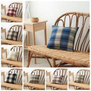 Plaid Pillow Case Linen Plain Striped Check Pattern Pillows Covers Xmas Square Tartan car Pillowcases Cushion cover