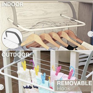 Multifunctional Foldable Drying Rack Household Indoor Outdoor Balcony Adjustable Shelf Clothes Towel Shoe Hanger J2Y Hangers & Racks
