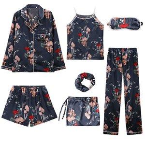 Womens Ladies Silk Pajamas for women girls Sleepwear 7 piece suit Set Satin Pyjamas Sex Pijama Nightie Sleepwear Home Clothes W1225