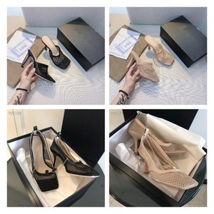 Роскошный дизайнер женские растягивающие сандалии золотая цепь сандалии кожаные подошвы квадратные ноги сетки высокие каблуки дамы летняя мода обувь высокое качество с коробкой размером 35-40