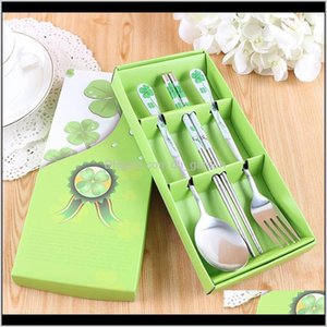 Sets Kitchen Dining Bar Home Garden Drop Delivery 2021 High Quality Stainless Steel Tableware Box Custom Printing Chinese Style Wedding Gift