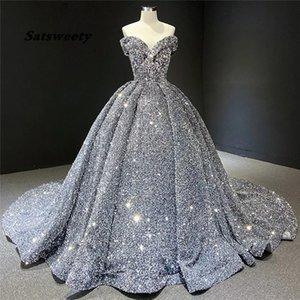 Gray Formal Party Night Evening Dresses 2021 Luxury Women Elegant Sequined Robe De Soiree Off Shoulder Vintage Long Prom Dress