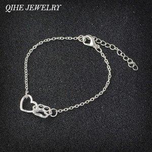 Qihe Sieraden Poot Print En Hart Bedelain Band Tiny Minimum Bracelet Dog Cat Lover Jewlry Dainty Pulsera