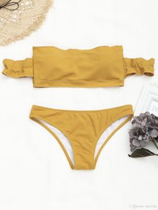 Azulina Bikini Swimwear 2018 Relavado acanalado Fuera del hombro Bikini Traje de baño Mujeres con textura brasileño brasileño sexy traje de baño