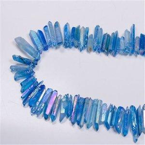 50G Titanium Clear Quartz Pendant Natural Crystal Crystal Wand Punto ruvido Reiki Guarigione Prisma Prisma Collana Cluster Charms Craft 613 S2