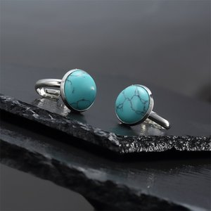 10mm 12mm natural stone ring white blue Turquoise opal pink crystal Chakra open ring for women jewelry 766 T2