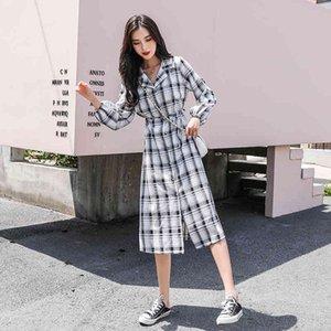 dresses Plaid Shirts Women Polo Collar Fashion Long Sleeve Single Breast Bandage Loose Casual Street Wear Plus Size Vestido Female