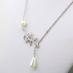 Hot 2019 Fashion Pearl Pendant Necklace Fashion Leaf Imitation Pearls Drops Cross Necklace For Women Jewelry Gift Party 729 T2