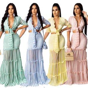 Women Designers Dress 2021 Fashion Casual Striped Chiffon Printing Slim Suit Maxi Dress Long Sleeves