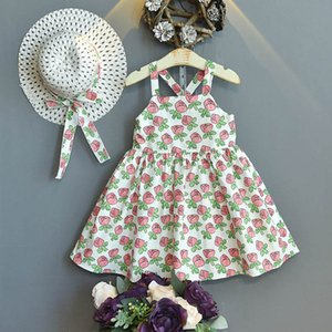 Girl's Dresses Girls Floral Beach Princess Straw Hat 2Pcs Sets Baby Clothes Kids Wear Summer 2-6Y B4532